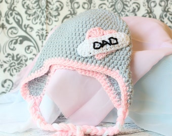 Toddler girl hat, Girls crochet hat, Crochet love dad hat, tattoo hat, 6 months, girls hat, photo prop,  ready to ship