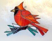 Red Stained Glass Bird. The Happy Cardinal. Ornament. Home Decor. Suncatcher. Made to Order.