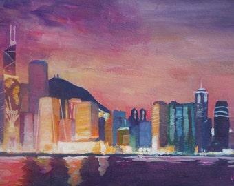 Hong Kong Skyline at Night - Limited Edition Fine Art Print