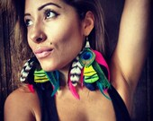 Beautiful Peacock Goddess feather earrings