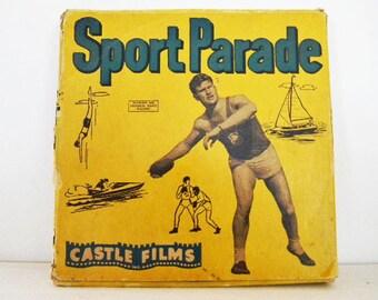 1950's Football Sports 8mm Parade Castle Films Reel Box Midcentury Man Cave Masculine Mad Men Retro Nostalgia Old Footage Memorabilia Fun