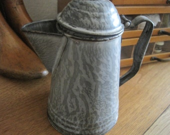 Vintage Gray/Grey Mottled Graniteware Coffee Pot