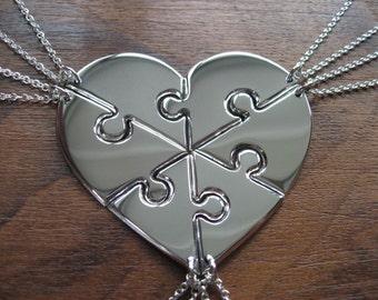 Six Silver Puzzle Piece Heart Pendant Necklaces