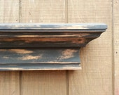 Distressed black Wall Shelf - wall Ledge- Cottage chic shelf hanging wall shelf