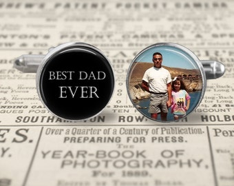 Best Dad Ever Cufflinks,Custom Dad Photo Accessories, Wedding Cufflinks, Father Of The Bride Cufflinks