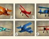 Vintage Airplane Art - PICK ANY 4 Prints - Nursery Boys Room Red Green Aqua Blue Gray Biplane Flying Aviation Home Decor Photograph 25 % OFF