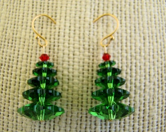 Earrings, Christmas Trees, Red, Green, Crystals, Dangle