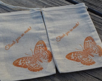 Set of 10 Hand stamped Butterfly Thank You Party Favor Muslin Bags 100% organic made in america