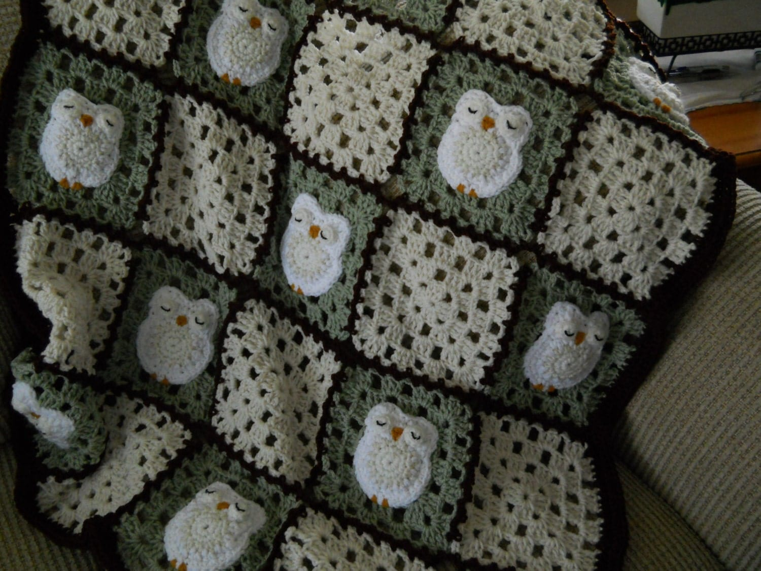 Crochet Owl Baby Blanket : Crocheted blanket snowy owl baby shower gift by todaysyesterdaze