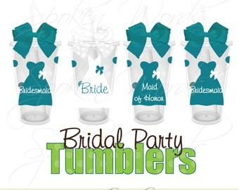 Set of 4 Bridal Party Gifts Wedding Party Gifts Personalized 16 oz. Acrylic Tumblers