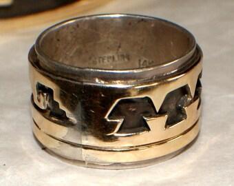 ESTATE AUCTION NAVAJO Ring 14k Gold Sterling Signed