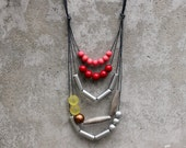 Contemporary geometric necklace, statement, red, light red, silver, yellow, bronze, wooden bead, boho, free shipping.