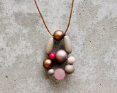 Pink, grey, copper, mushroom, soft pink, wooden bead pendant, hot pink, contemporary, minimalist pendant, gifts under 30.