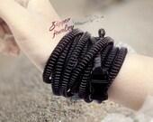 20 Black Men Bracelets, Etsy wholesale, zipper jewelry, handmade monotone landscapes wristband by SakuraZIPPERjewelry.