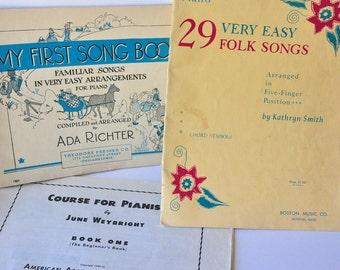 Set of Three Vintage Piano Books