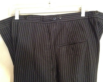 70s tuxedo striped pants gray and black