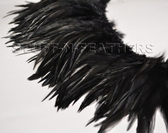 Wholesale / Bulk feathers – Black rooster saddle feathers, black rooster feathers strung, real feathers  / 5-7 in (10-18 cm) long / FB140-5