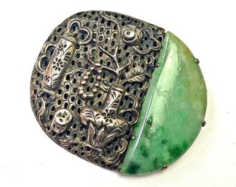 Art Deco Green Jade and Silver Repousee Chinese Export Brooch