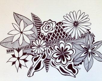 Original Black Ink pen flower doodle drawing 1
