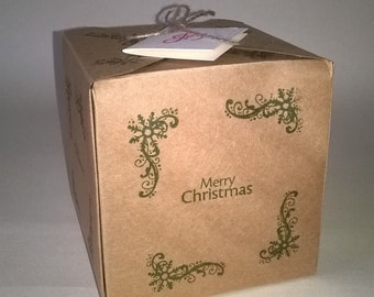 5 Merry Christmas Gift Boxes , Made to Order, Christmas Gift