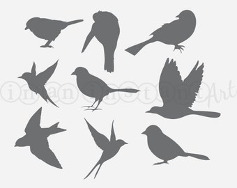 Bird Wall Decals, Set of 9 Flying and Perching Birds, Extra Bird Wall Decals 060
