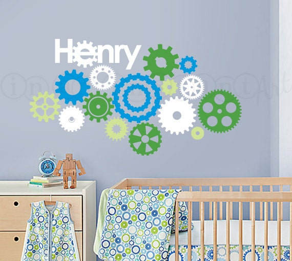 Gear Wall Decal, Cogs, Wheels and Gears Wall Decal for Nursery, Kids, Childrens Room 075