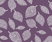 Windham Fabrics - Mormor Collection - Abstract Dotted leaves - Dark Plum - Lotta Jansdotter - Choose Your Cut 1/2 or Full Yard