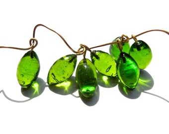 SUPPLY: 20 Rustic Olive Lime Glass Charms with Brass Wire - Lamp Work Charms - Glass Charms -  (3-C3-00003088)
