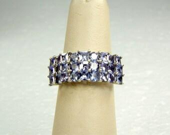 Princess Cut Tanzanite 10K White Gold Band Ring, Round & Princess Cut Multi Level Designer 3.25ct Tanzanite in 10K White Gold Wedding Ring