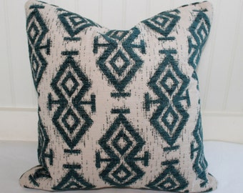 IN STOCK / Teal Ikat Pillow Cover / 18 X 18 / Designer  fabric in teal and oatmeal upholstery.