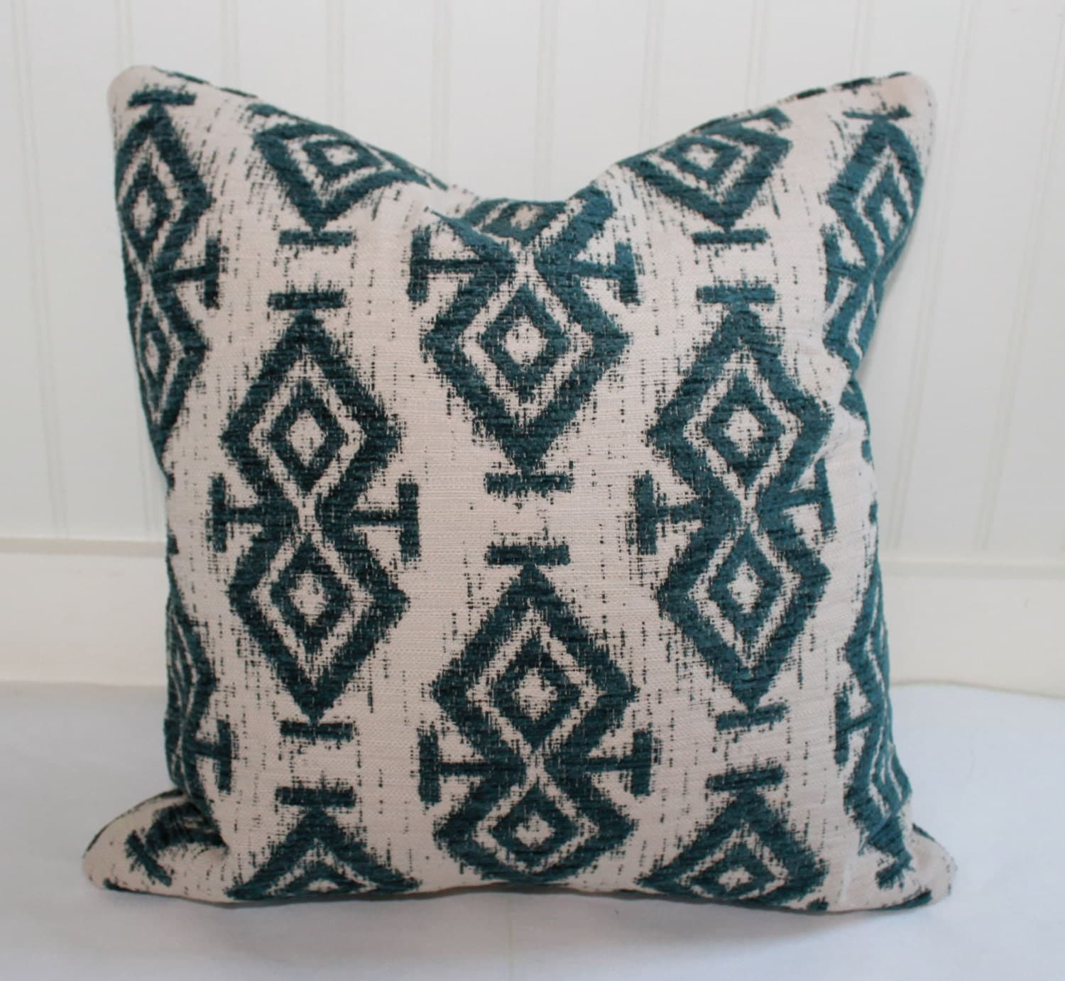 IN STOCK / Teal Ikat Pillow Cover / 18 X 18 / Designer fabric