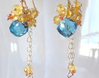 Morning Waterscape Gemstone and Gold Earrings