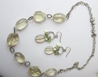 Chunky Lemon Quartz and Sterling Silver Necklace and Earring Set