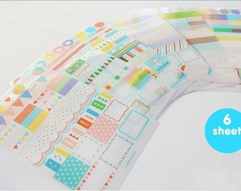Rainbow Diary Decor Sticker Set Drawing Market Sticker - 6 Sheets,Kawaii,Journal Stickers,Organizer,Index Dots,Background,Point