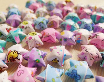 Cute Origami Lucky Stars - Mixed Patterns Cartoon Wishing Stars/Table Decor/Party Supply/Embellishment
