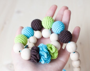 Nursing necklace / Teething necklace / Crochet nursing necklace - Aquamarine, Green, Brown - Necklace with flowers