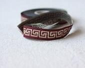 patterned trim,16 mm Burgundy Jacquard ribbon, Embroidered border, Sewing trim, Greek key Jacquard trim, Burgundy Woven Border, Craft border