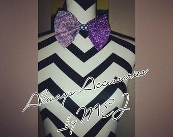 Purple and White Bowtie Bowtie