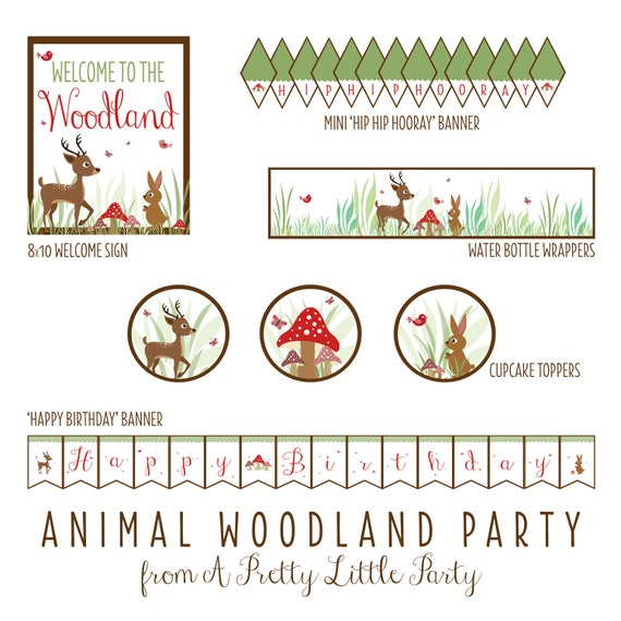 WOODLAND Animal Birthday Party Pack  - Digital files - Party Supplies - INSTANT DOWNLOAD