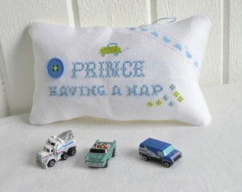 Boy door knob hanger , Baby boy sleeping , ooak handmade Swedish cross stitched pillow