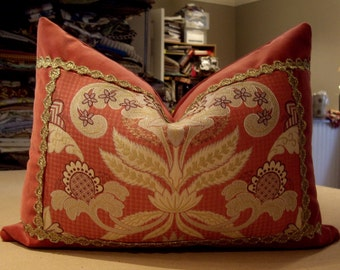 """One Scalamandre Colony Collection Rosso """"BELGRAVIA"""" Italian Custom Bolster Pillow - Cowtan Tout Back - Passementerie Trim -16"""" by 22"""""""