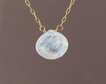 Gold Rainbow White Teardrop Moonstone Necklace also in Silver