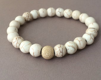 Gold Ball White Turquoise Stone Layer Beaded Bracelet also in Silver