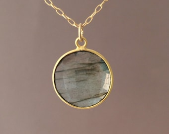 SMALL Gold Gray Labradorite Circle Necklace Long or Short