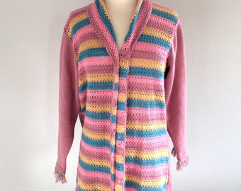 SALE Festival Sweater Striped Coachella Cardigan Vintage Jersey Shawl Knitted Sweater Size Large VTG Knits Sweater Gypsy Hippie