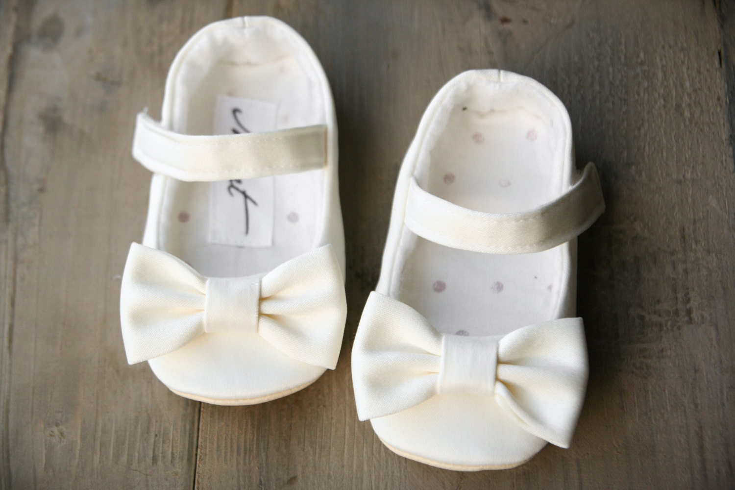 White flower girl shoes white christening shoes bow shoes