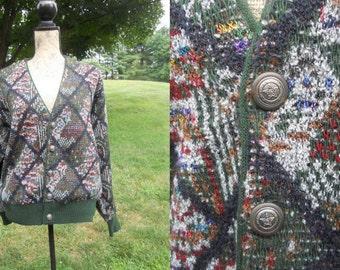 Vintage Cardigan Sweater Multi-color Green Button Up Diamond Pattern Unisex  Oklahoma Cosby Sweater SALE