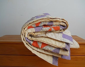 Antique Custom American Quilt Blanket,  Antique Bedding Home Decor, Custom Quilt For Mothers Day Gift,  Purple Orange Antique Blanket