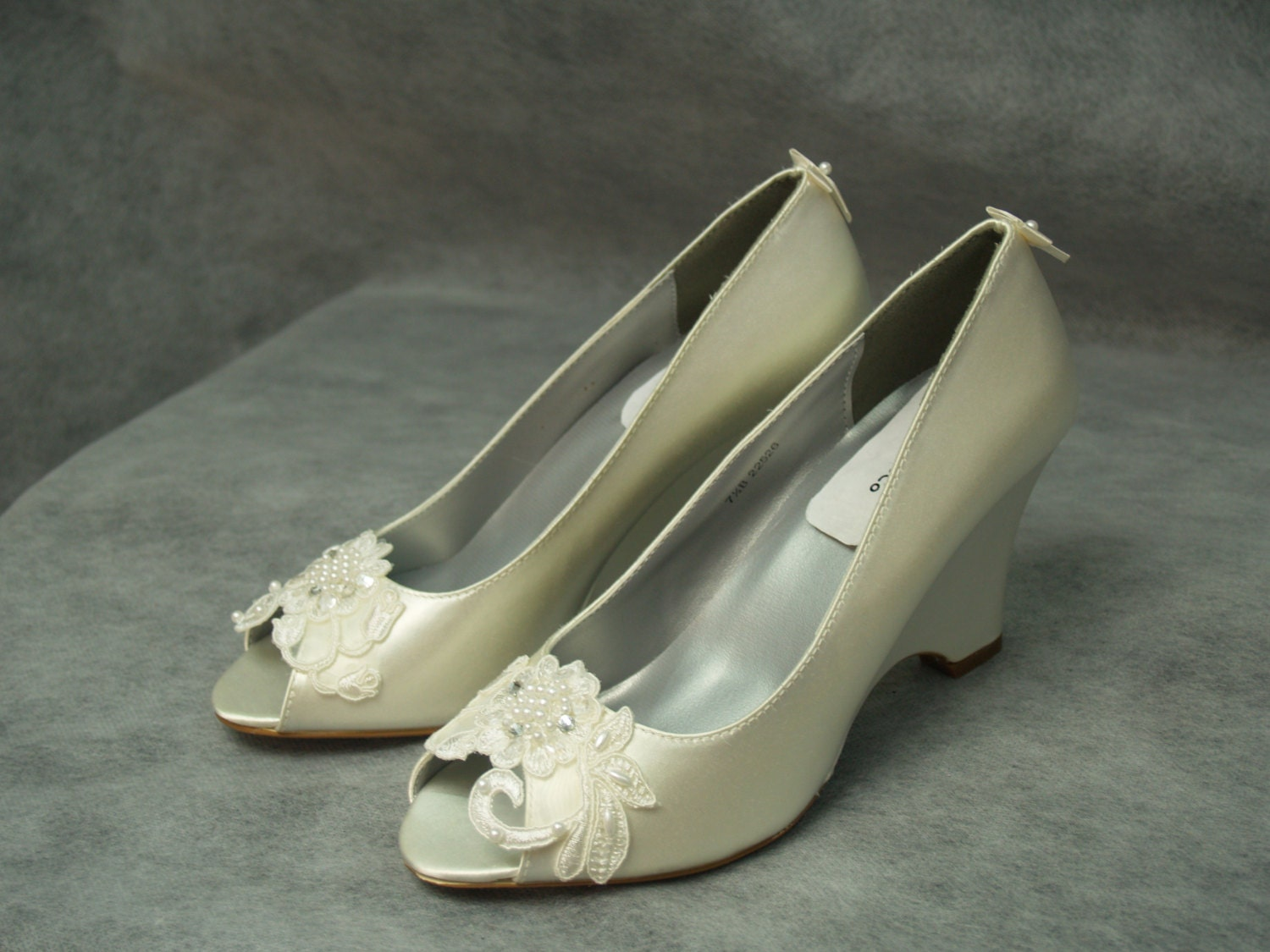 Wedge Wedding Shoes Ivory or Apple green with lace Flower