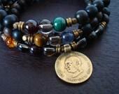Men's Seven Chakra Mala Necklace or Wrap Bracelet - Mahatma Gandhi Coin - Yoga, Buddhist, Meditation, Prayer Beads, Jewelry